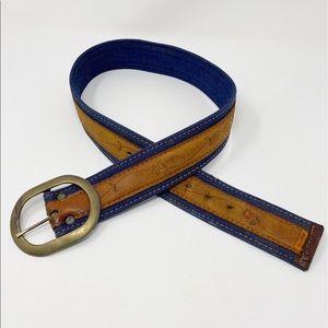 VINTAGE Levi's Tooled Leather Denim Belt S Floral